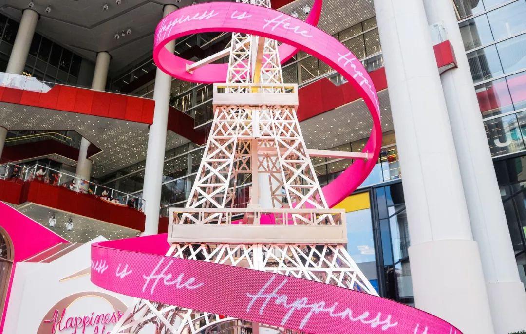 巴黎铁塔刷亮了魔都的圣诞美陈设计,粉嫩造型浪漫一圣诞