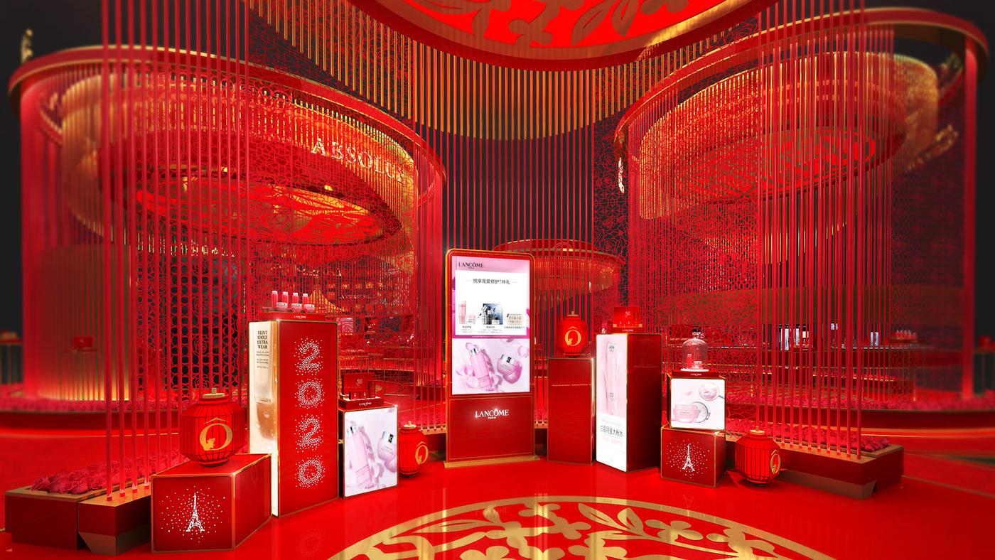 国风来袭,LANCOME 兰蔻2020新春庙会装置展览设计开启潮流