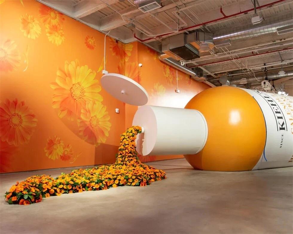 科颜氏的新品发布会策划了一个大型的金盏花精华水霜装置