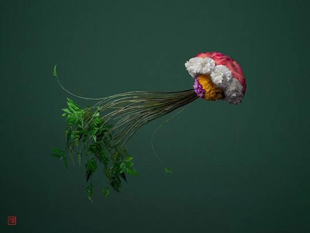 完美将花卉与叶组合塑造的野生动物主题展览活动也很活动和动感
