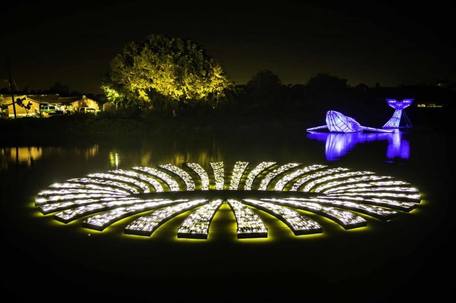 月津港灯光展览活动增加了多媒体互动体验,打造一场看得见的奇景