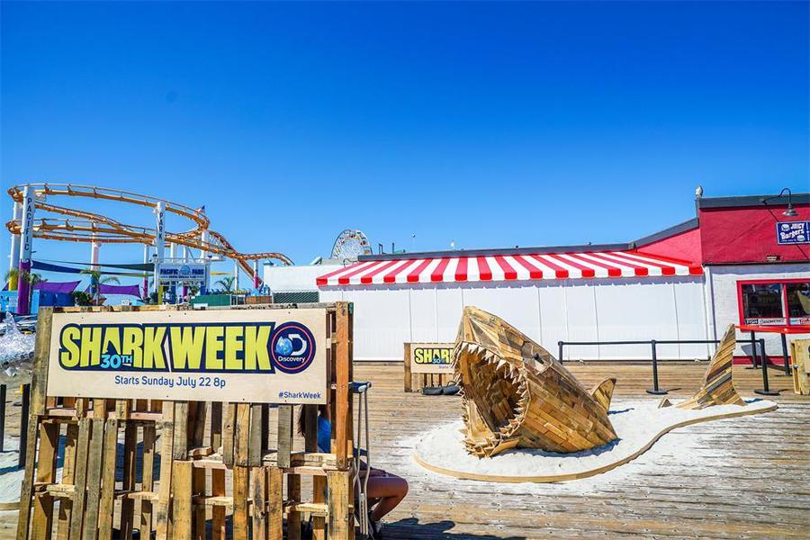 探索频道「鲨鱼周」30周年的推广活动策划了一场鲨鱼艺术装置